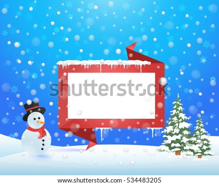 Christmas Landscape, Winter Background Design, Snowflakes, Snowman, Pine Tree, Origami Banner and Snow Illustration, Greeting Card Template