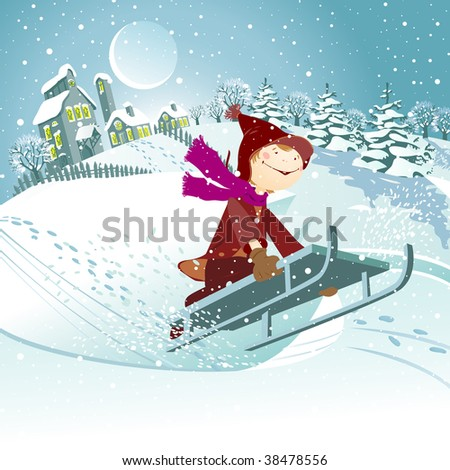 Christmas landscape with child on toboggan. - stock vector