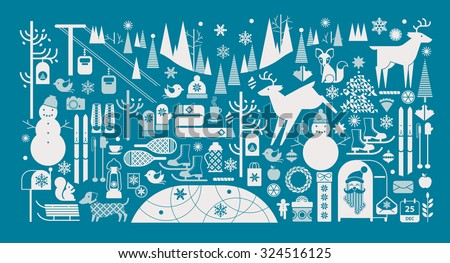 Christmas landscape with silhouettes of forest animal, snowman and winter sports symbols.