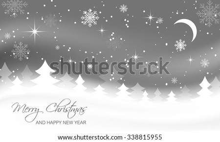 Christmas landscape with trees, moon and snowflakes.