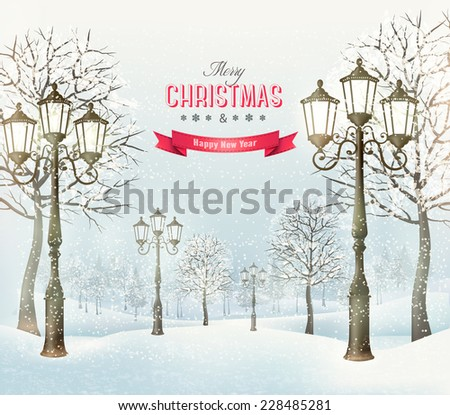 Christmas landscape with vintage lampposts. Vector. - stock vector