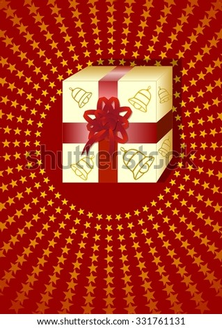 Christmas leaflet template - packed gift with crimson ribbon on dark red background, decorated with yellow small stars. Advertising poster for christmas gift offer in shop