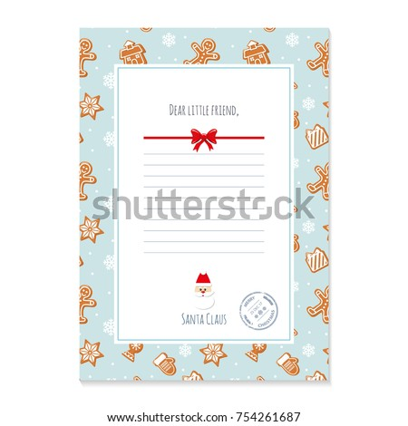 Christmas letter santa claus template layout stock vector 754261687 christmas letter from santa claus template layout in a4 size pattern with gingerbread cookies spiritdancerdesigns Images