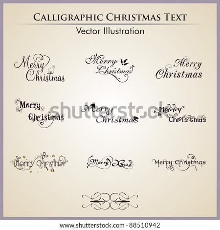 Christmas lettering by nine styles of a writing on a simple background. - stock vector