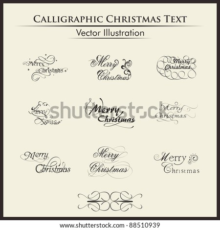 Christmas lettering or typography by nine styles of a writing on a simple background. - stock vector