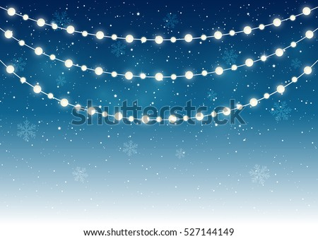 Christmas light bulbs on starry background