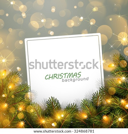 Christmas light with fir branches and bokeh effect. Vector illustration - stock vector