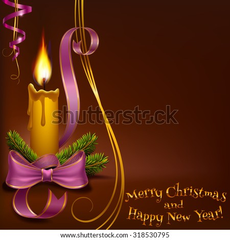 Christmas lighted candle and fir branches with ribbons to vector format - stock vector