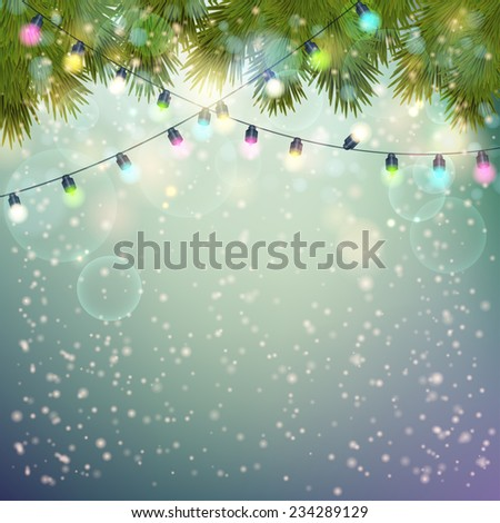 Christmas Lights  and fir twigs background . Vector illustration.  - stock vector