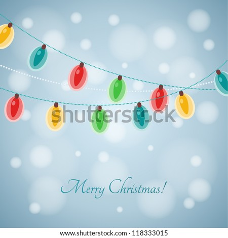 Christmas lights background. Vector design elements. - stock vector