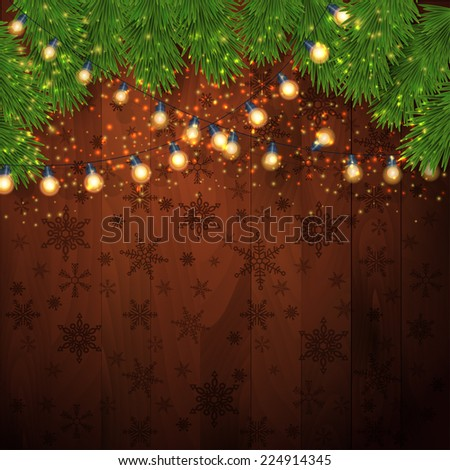 Christmas Lights Background with fir twigs. Vector illustration, eps10  - stock vector