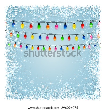 Christmas lights on blue background with frame from snowflakes and stars, illustration.