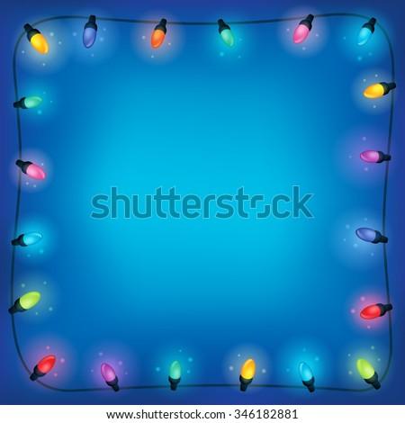 Christmas lights theme frame 2 - eps10 vector illustration. - stock vector