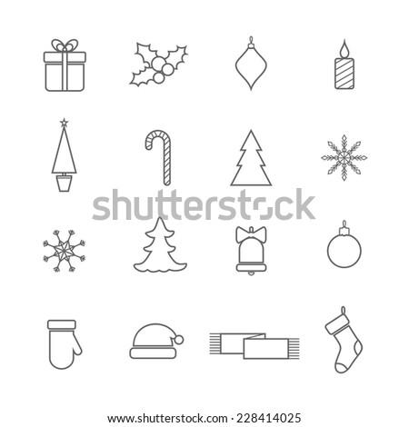 Christmas line icons set - stock vector