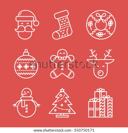 Christmas Line Icons Set On Red Background