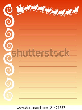 "Christmas Lined Notepad Stationary 8.5""x11""(vector)"