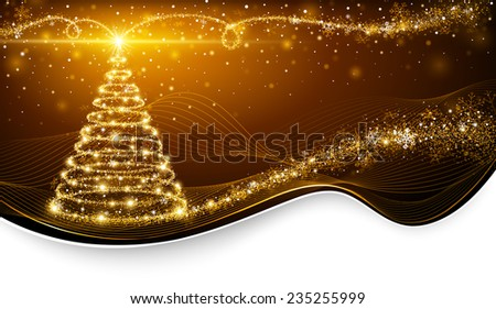 Christmas magic tree with bright star on golden background - stock vector