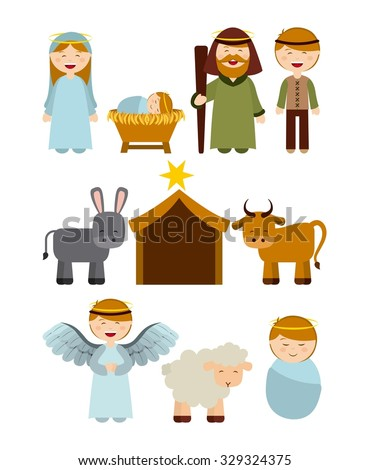 Christmas manger characters design, vector illustration eps10 graphic  - stock vector
