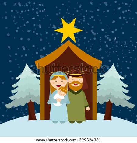 Christmas manger characters design, vector illustration eps10 graphic