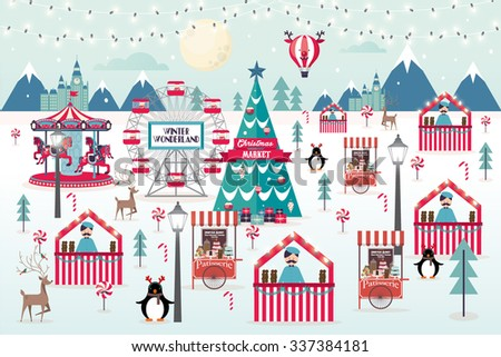 christmas market vector/illustration - stock vector