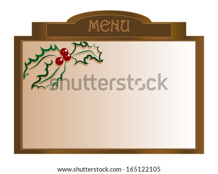 Christmas menu board with holly berry - vector illustration
