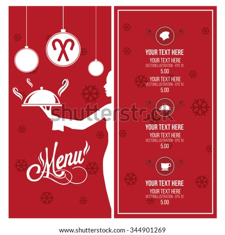 Christmas menu illustration over red and white color background