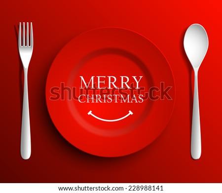 Christmas menu plate  - vector illustration - stock vector