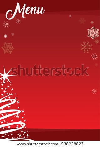 christmas menu template with red background and decorations