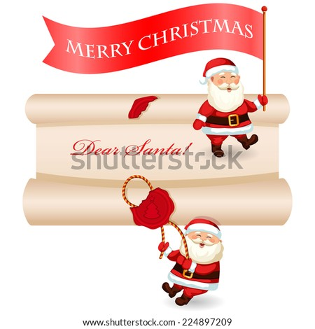 Christmas message set. Christmas letter to Santa Claus. And Santa with banner. Vector illustration