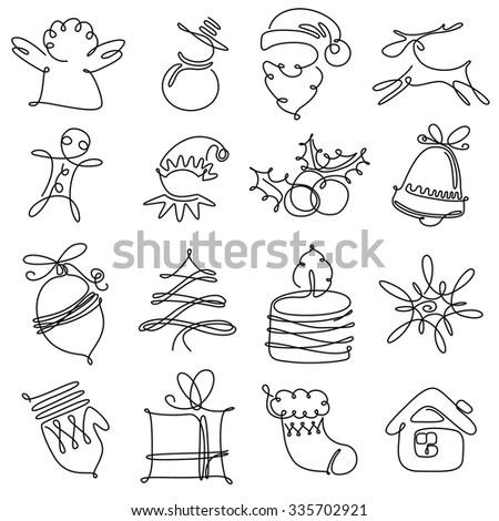 Christmas minimalistic icons set - stock vector