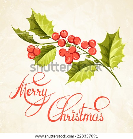 Christmas mistletoe brunch over card with holiday text. Vector illustration.