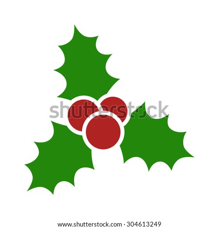 Christmas mistletoe flat icon for apps and websites - stock vector