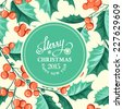 Christmas mistletoe holiday card with text. Vector illustration. - stock