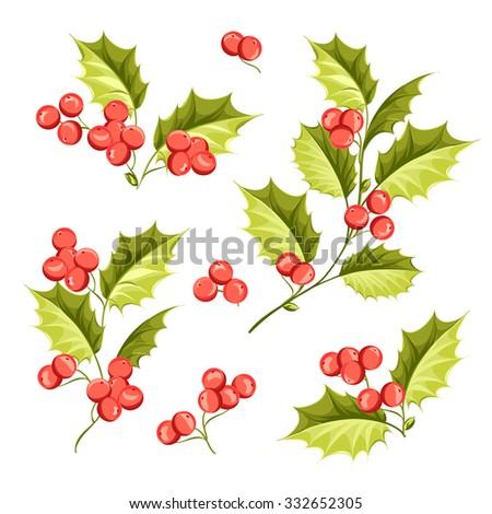 Christmas mistletoe holiday set. Happy new year 2016. Vector illustration. Christmas flower. - stock vector