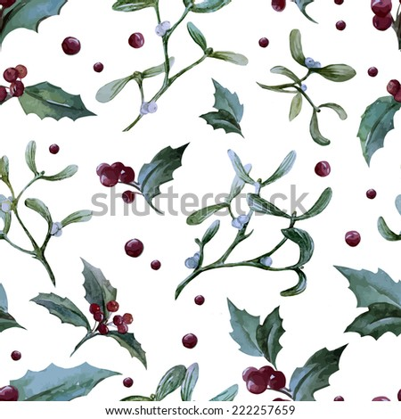 christmas, mistletoe, pattern - stock vector