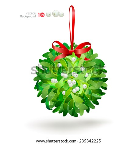 Christmas mistletoe with a red bow. Vector  EPS 10. - stock vector