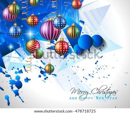 Christmas Modern Background with balls and star lights with abstract elements for outstanding greeting card or dinner invitations.