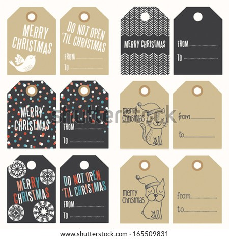 Christmas modern tags collection