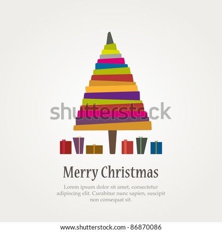 Christmas modern tree and gifts. Vector - stock vector