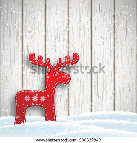 Christmas motive in scandinavian style, reindeer standing in front of white wooden wall, vector illustration, eps 10 with transparency and gradient meshes