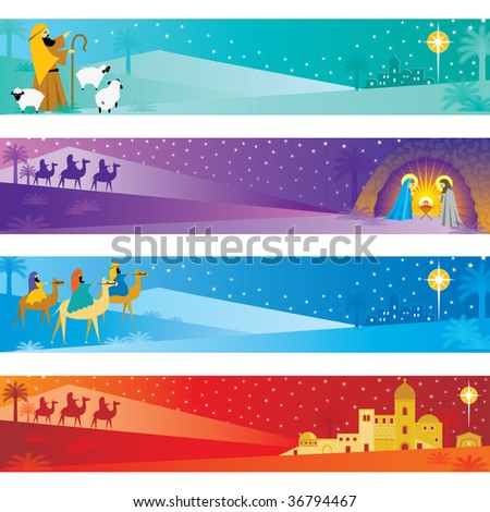 Christmas Nativity Banners - stock vector
