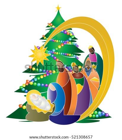 Christmas Nativity Religious Bethlehem Crib Scene, With Holy Family Of  Mary, Joseph And Baby