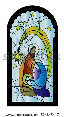 Christmas Nativity Religious Church Stained Glass Window Illustration With The Holy Family Of Mary Joseph