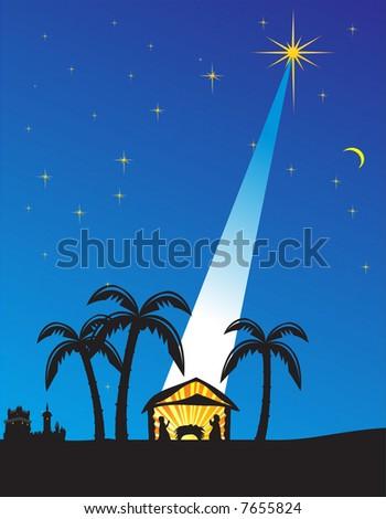 Christmas nativity scene. Vector illustration - stock vector