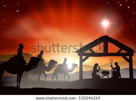 Christmas nativity scene with baby Jesus in the manger in silhouette, three wise men or kings and star of Bethlehem - stock vector