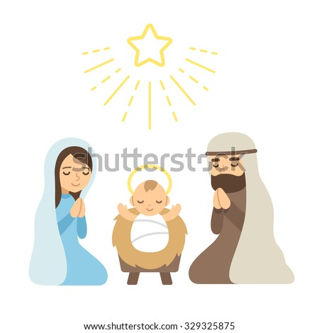 Christmas Nativity Scene with baby Jesus. Modern flat vector illustration. - stock vector