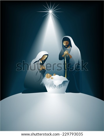 Christmas nativity scene with holy family  - stock vector