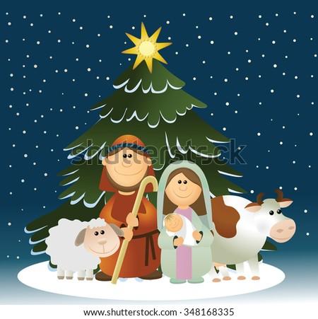 Christmas nativity scene with holy family  - stock vector
