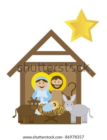 Christmas nativity scene with holy family isolated. vector - stock vector