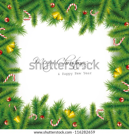 Christmas needles background - stock vector